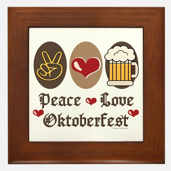 Peace Love Oktoberfest Framed Tile