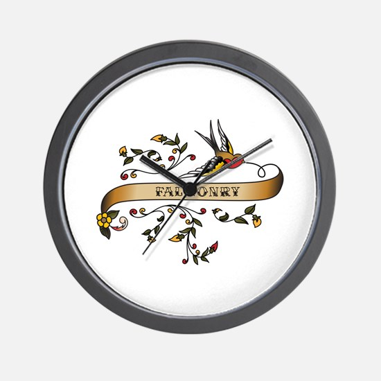 Falconry Scroll Wall Clock