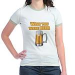 WishUwereBeer Jr. Ringer T-Shirt
