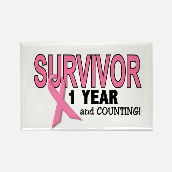Breast Cancer Survivor 1 Year Rectangle Magnet