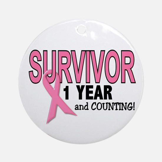 Breast Cancer Survivor 1 Year Ornament (Round)