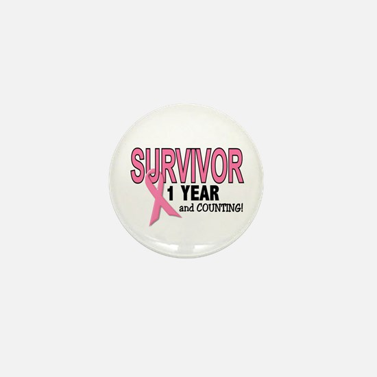 Breast Cancer Survivor 1 Year Mini Button