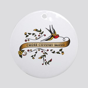 Cross Country Skiing Scroll Ornament (Round)