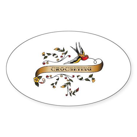 Crocheting Scroll Oval Sticker