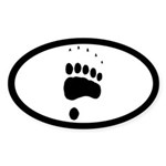 Grizzly Bear Pawprint Track Euro Sticker (Oval 50