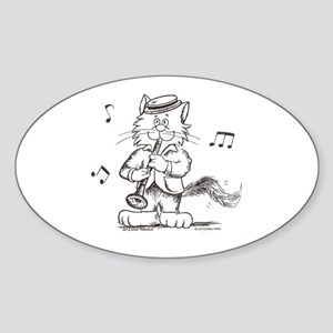 Catoons clarinet cat Oval Sticker