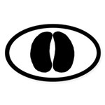 Bison Buffalo Track Pawprint Euro Sticker (Oval 50