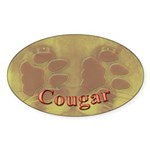 Cougar Tracks Oval Sticker (10 pk)