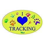 I Love Tracking Oval Sticker (50 pk)