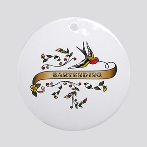 Bartending Scroll Ornament (Round)