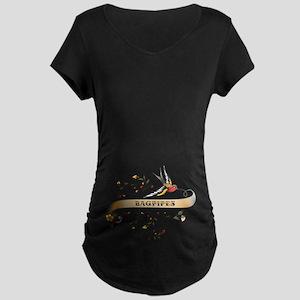 Bagpipes Scroll Maternity Dark T-Shirt