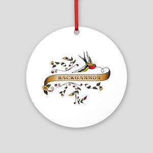 Backgammon Scroll Ornament (Round)