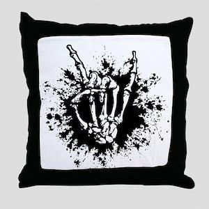Rock in Bone Splat Throw Pillow