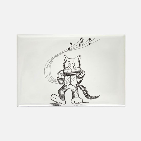 Catoons harmonica cat Rectangle Magnet
