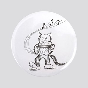 "Catoons harmonica cat 3.5"" Button"