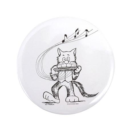 "Catoons harmonica cat 3.5"" Button"