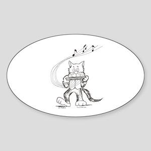 Catoons harmonica cat Oval Sticker
