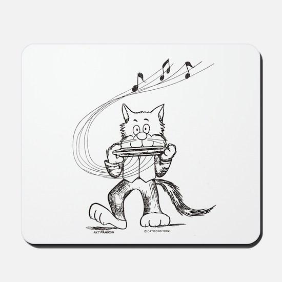 Catoons harmonica cat Mousepad