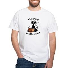 Black Cat Halloween Pumpkin White T-Shirt