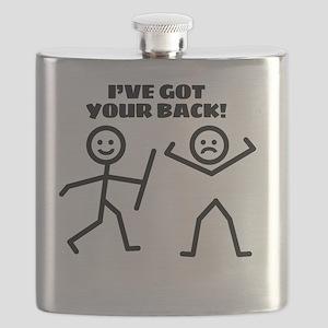 I've Got Your Back Funny Stick Figure Hu Flask