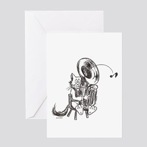Catoons tuba cat Greeting Card