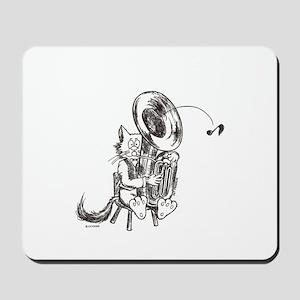 Catoons tuba cat Mousepad