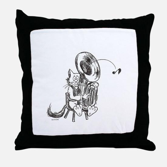 Catoons tuba cat Throw Pillow