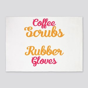 Coffee Scrubs and Rubber Gloves Fun 5'x7'Area Rug