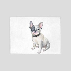 Frenchie French Bulldog black-glass 5'x7'Area Rug