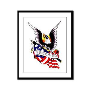 Freedom Eagle Flag Tattoo Framed Panel Print