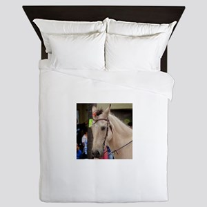 White horse head bow bridle in parade Queen Duvet