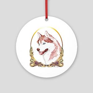 Blue Eye Husky Christmas Ornament (Round)