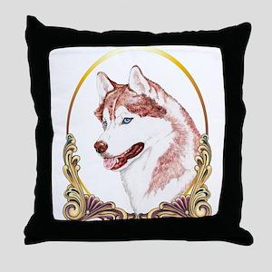 Blue Eye Husky Christmas Throw Pillow