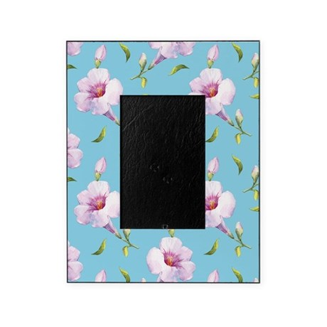 Pink Petunias on Blue Picture Frame