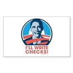 Obama: I'll Write Checks! Rectangle Sticker