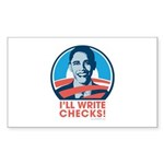 Obama: I'll Write Checks! Rectangle Sticker 10 pk
