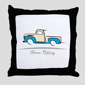 1952 Ford Pickup Gone Fishing Throw Pillow