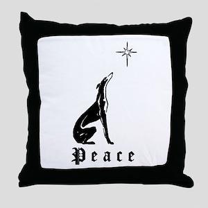 Greyhound Christmas Peace Throw Pillow