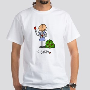 I Garden Stick Figure White T-Shirt