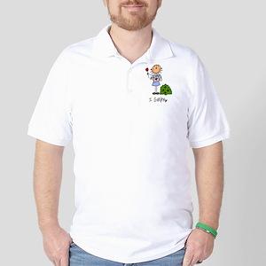 I Garden Stick Figure Golf Shirt