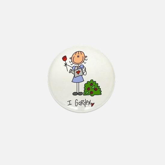 I Garden Stick Figure Mini Button