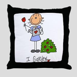 I Garden Stick Figure Throw Pillow