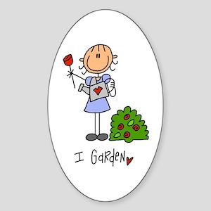 I Garden Stick Figure Sticker (Oval)