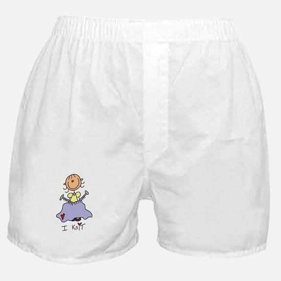 I Knit Stick Figure Boxer Shorts