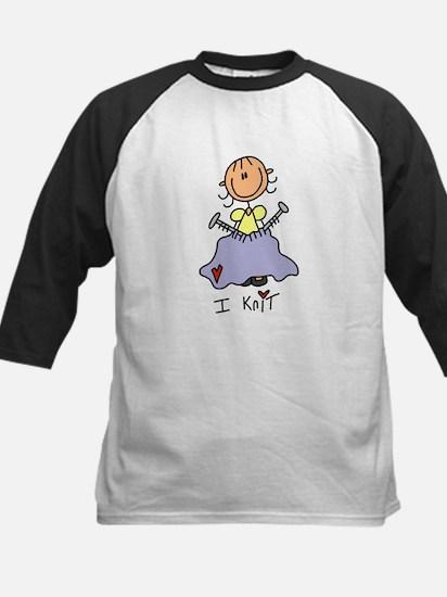 I Knit Stick Figure Kids Baseball Jersey