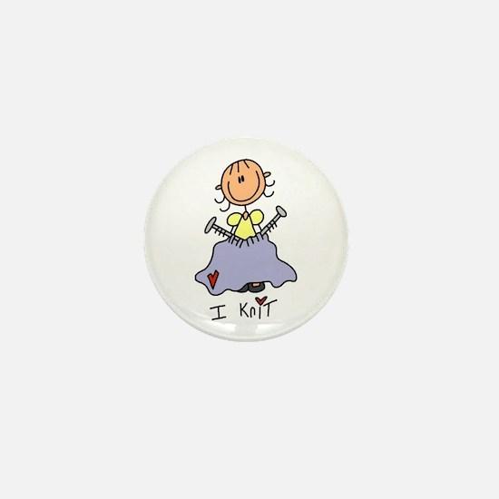I Knit Stick Figure Mini Button