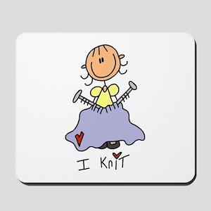 I Knit Stick Figure Mousepad