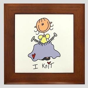 I Knit Stick Figure Framed Tile