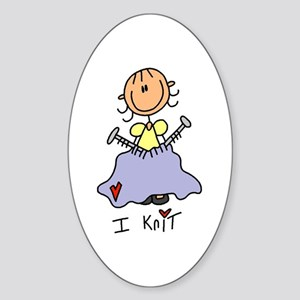 I Knit Stick Figure Sticker (Oval)