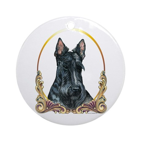 Scottish Terrier Christmas Ornament (Round)